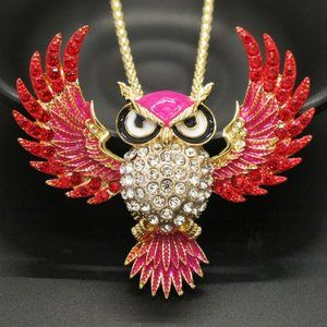 Jewelry - Large Spread Winged Owl Red Crystal Necklace